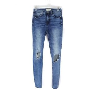 Free People high rise distressed skinny jeans, 27